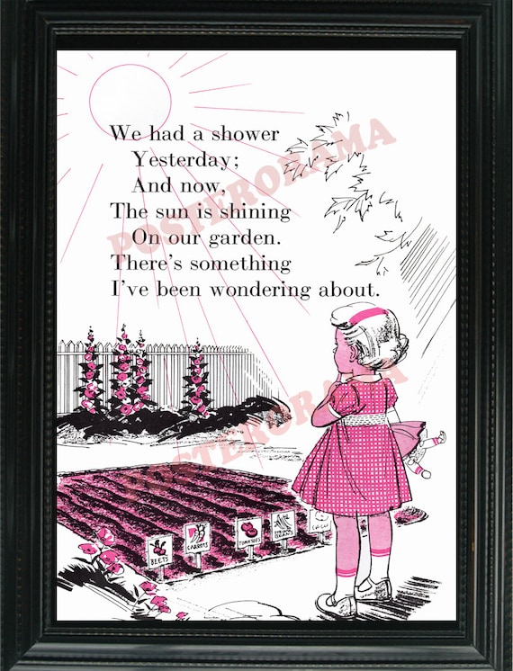 Sun and Rain help the Garden grow POSTER large 14 x 20 gardening plants Print