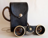 Soviet opera binoculars. Black and gold little chic theatre glasses in black leather case. Made in Soviet Russia, in 1970's - ArnoldsTreasury