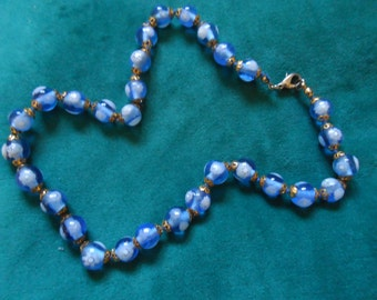 Blue Flowers Murano Glass 16 inch Necklace with Gold Embellishments