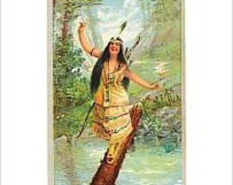 Antique 1905 Laughing Water Chromolitho Indian Girl Print