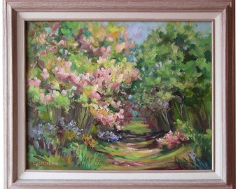 Toward the Glen in Spring- Oil Painting by Steinbach in spring colors of spring green, pinks and yellows