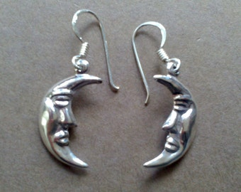 Moon sterling silver 925  earrings