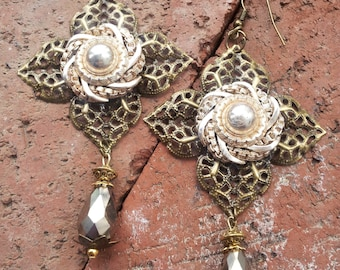Victorian Style Big Bronze Filigree, Platimum Swarovski Briolette Dangle Earrings For The Confident Woman
