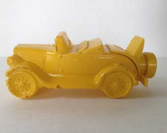 Avon Yellow Car Toy Convertible - Charming Yellow Glass Roadster / Chippy Lemon Yellow / Great for Nursery Decor or Car Collection