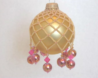 """Beaded Ornament Cover """"Pretty in Pink"""" Pink Gold Cream"""