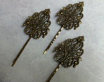 6 pcs Filigree Bobby Pin Blanks,,Antique Bronze Flower Hair Pins,brass Hair Clip,hair slide,brass hair slide,hair stuff,hair accessories .
