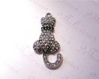 Kitty Cat Crystal Pendant Antique Silver Animal Feline Pet Charm