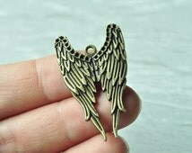 8pcs Antique Bronze Angel Wing Charm Pendant 40x24mm K692