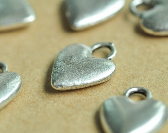 20pcs Antique Silver Heart Love Charm Pendant 14x11mm K435