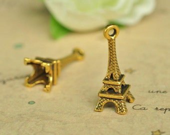 20pcs Antique Gold 3D Eiffel Tower Charms 22x8mm K560