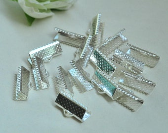 60pcs Silver Plated Leather Crimp End For Ribbon End Cord Fastener Clasps 16mm XJ029