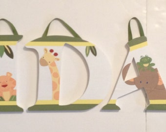 Jungle Babies Wall Letters Nursery Bedding Decor Animals Name Art