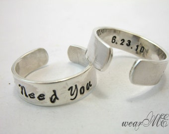 Personalized Sterling Silver Rings - Adjustable  Rings.. Custom Hand Stamped Rings.. Couple Ring.. Best Gift.. YOu WiLL LOvE iT
