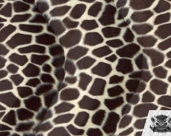 Giraffe Beige Brown Velboa Animal Print Fabric Sold by the Yard