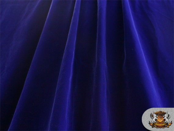"Double Velvet Dark Blue Fabric / 44"" Wide / Sold By The Yard"