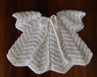 Girl's Wool Cardigan. White.