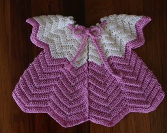 Girl's Wool Cardigan. Off White and Pink.