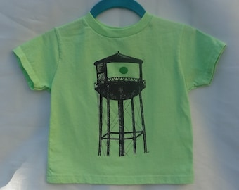 "Toddler ""Greenpoint"" Water Tower T-Shirt, Lime Green"