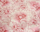 French Vinage1930 Cotton Patchwork Fabric Red Meadow Flowers Shabby Chic Pillows & More 38x23""