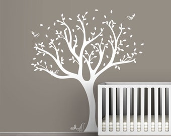 White Tweet Tree Wall Decal by LittleLion Studio