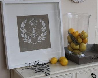 Napoleonic Bee Stencil on Linen