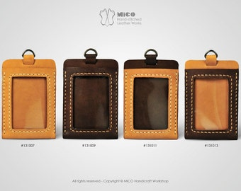 MICO leather Badge holder/ ID Pass holder/ Badge Lanyard (Vertical)