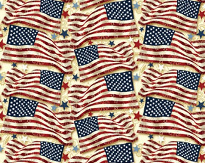 """SUPER CLEARANCE! 25"""" REMNANT Star Spangled Bandana - Freedom Flags in Cream/Multi Cotton Quilt Fabric - Benartex (W109)"""
