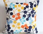"Navy Blooms Decorative Pillow Cover - Orange Yellow Aqua Blue Polka Dot - Home - 14"" x14"" - living room -  Spring Summer Home Decor"