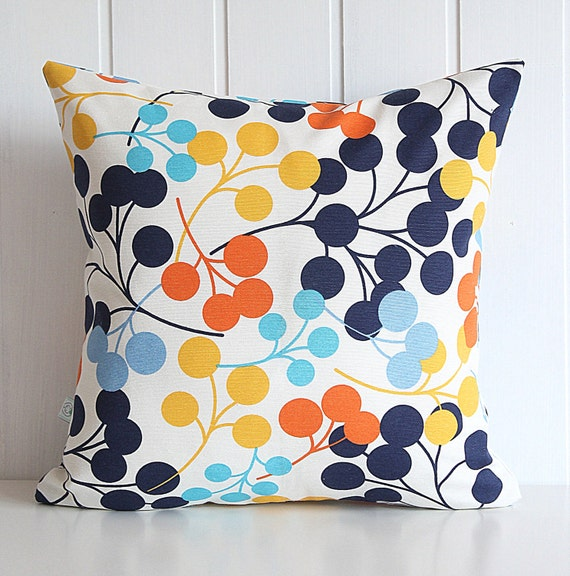 Navy Blooms Decorative Pillow Cover Orange Yellow Aqua Blue
