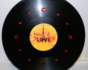 THE BEATLES Love Inspired Vinyl Record LP Wall Clock