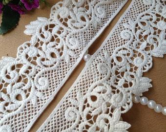 2 yards Cream Cotton Lace Trim Retro Embroidered Lace Trim 2.55 inches wide