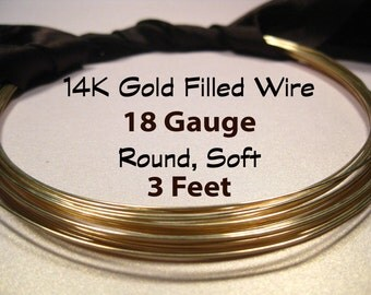 15% Off SALE!! 14K Gold Filled Wire, 18 Gauge, 3 Feet WHOLESALE, Soft, Round.