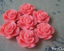 10 pcs of Resin Vintage Brink Pink Round Flower Cameo 21mm A4699
