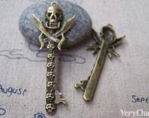 5 pcs of Antique bronze Skull Sword Pendants Charms 23x61mm A2165