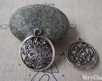 20 pcs Antique Silver Filigree Round Flower Ring Charms 22x26mm A5315