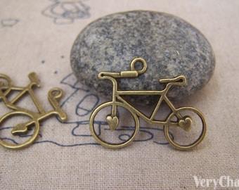 Heart Bike Bicycle Charms Antique Bronze Pendants 23x31mm Set of 10 pcs A5203