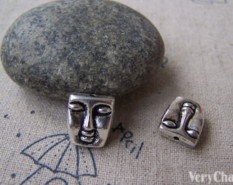 10 pcs of Tibetan Silver Lovely Lady's Face Spacer Beads Charms 10x12mm A4089