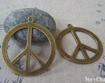 5 pc of Antique Bronze Huge Peace Symbol Sign Pendants 40mm A3335