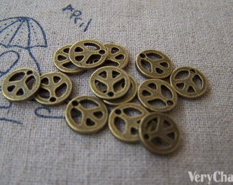 50 pcs of Antique Bronze Flat Peace Symbol Charms 8mm A627