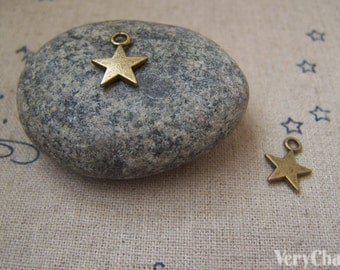 50 pcs Antique Bronze Simple Blank Star Charms 8mm A3086