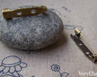 50 pcs of Antique Bronze Brooch Back Bar Pins  25mm A3412