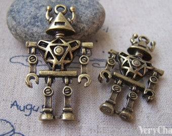 4 pcs of Antique Bronze Filigree 3D Robot Charms Pendants 24x45mm A702