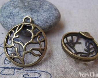 10 pcs of Antique Bronze Filigree Tree Round Charms 24x29mm A311