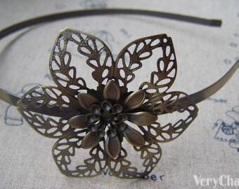 Large Filigree Flower Headband Brushed Brass Hair Band 56mm Set of 1 A4469