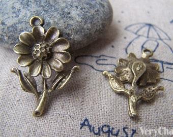 20 pcs of Antique Bronze Sunflower Charms Pendants 18x27mm A3004