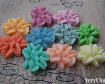 Cabochon Resin Flower Cameo Assorted Color 14x16mm Set of 10 pcs A3978
