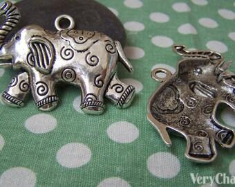 Antique Silver Elephant Charm Pendants 40x56mm Set of 2 A1203