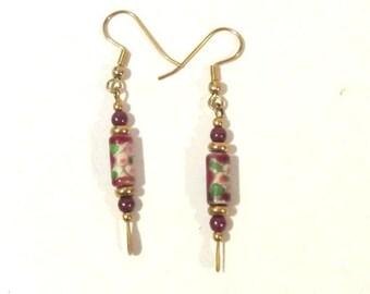 Vintage Jewelry Japanese Ceramic Bead dangle earrings