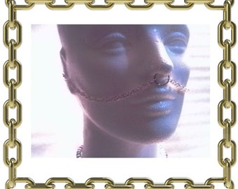 Double Septum to Ear Chain without Nose Hoop