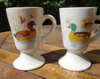 French  vintage duck mallard  decor coffee cups mazagran ceramic mugs